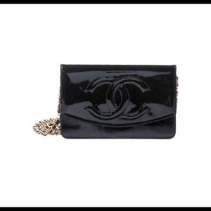 Vintage Chanel patent wallet on chain